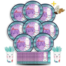 Load image into Gallery viewer, B-THERE Llama Fun Party Pack Bundle - Llama Fun Birthday Set, Seats 8: Plates, Cups, Napkins and Plush Stuffed Llama Toy. Childrens Party Supplies