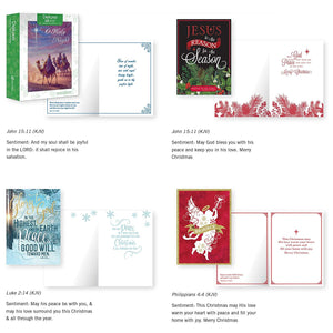 B-THERE Bundle of 12 Boxed Christmas Greeting Cards - Religous, Foil and Glitter Finishes with Envelopes - Includes KJV Scriptures