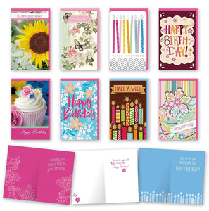 "Assorted Feminine Birthday Cards Bulk Card Set of 8 Cards with Envelopes. Large Handmade Cards 5"" x 8"" with Foil/Glitter Finishes"