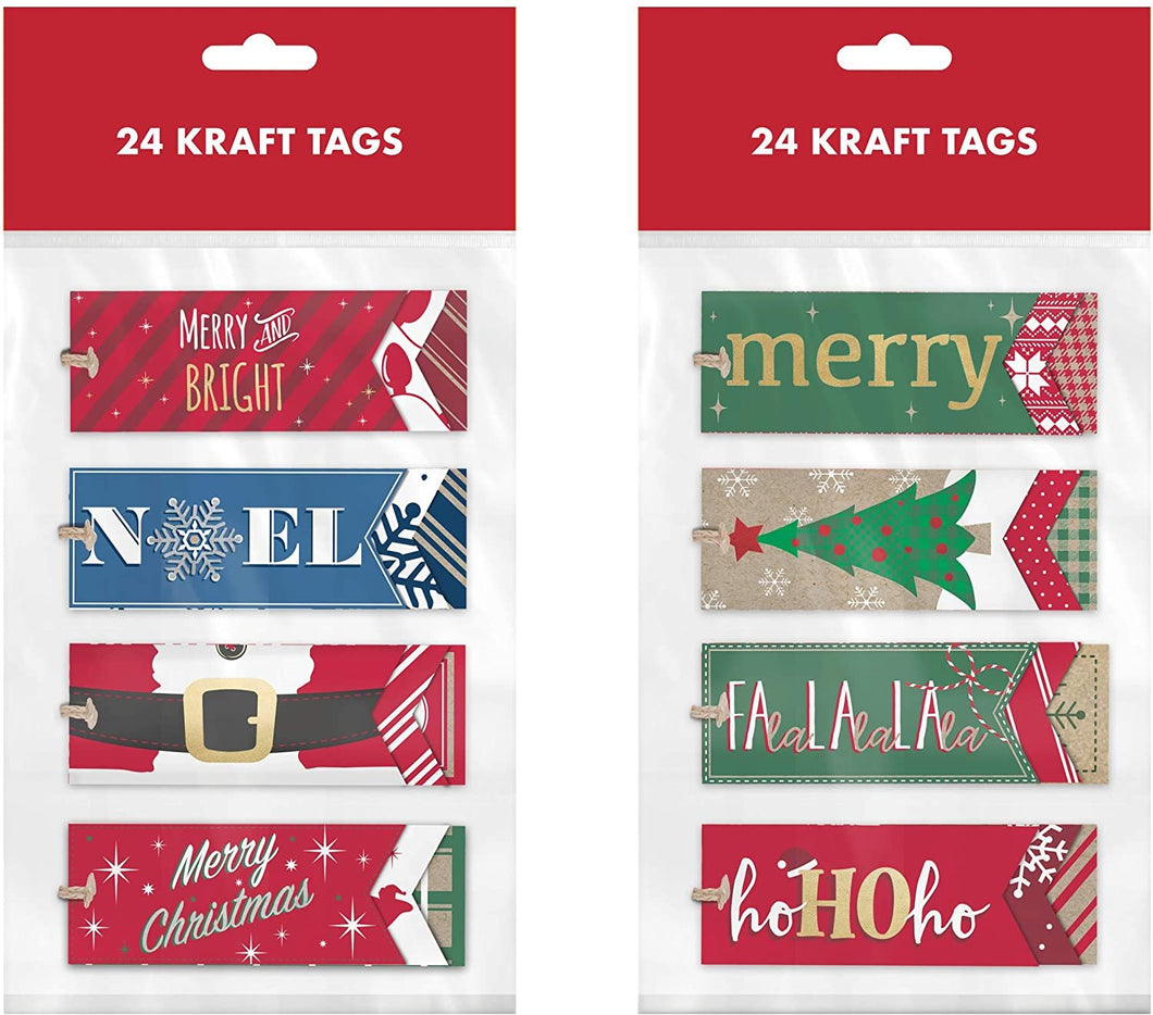 B-THERE 48ct Triple Layer Kraft Christmas Holiday Contemporary Folk Gift Tags with Kraft Tie Loop, Foil Finish