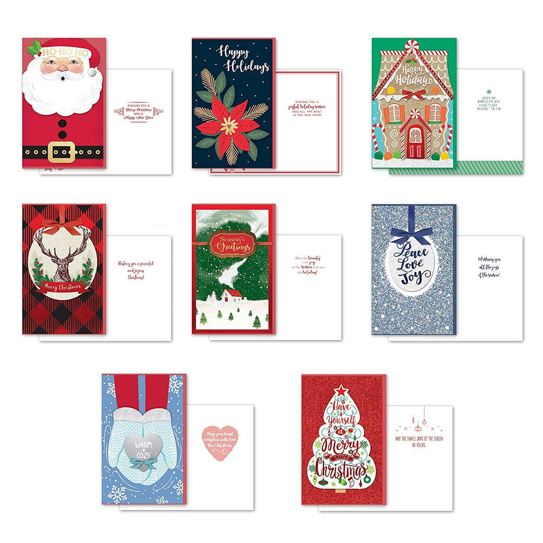 B-THERE Bundle of 8 Large Handmade Christmas Greeting Cards, Foil and Glitter Finishes with Envelopes