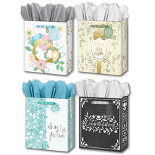 "Load image into Gallery viewer, B-THERE Bundle of 4 Large 10"" x 12"" x 5"" Wedding Gift Bags with Tags and Tissue for Men, Women for Special Occasion"