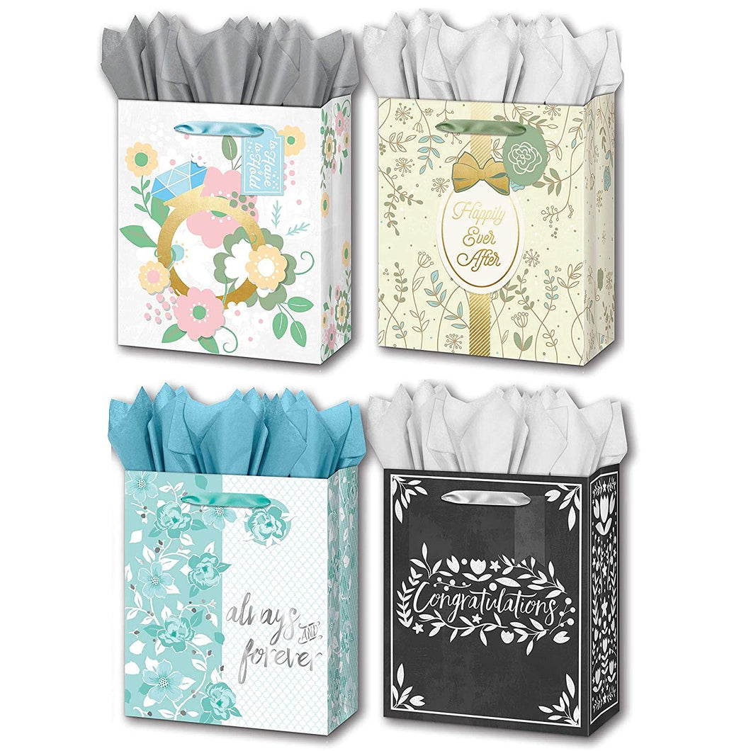 "B-THERE Bundle of 4 Large 10"" x 12"" x 5"" Wedding Gift Bags with Tags and Tissue for Men, Women for Special Occasion"
