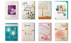 Assorted Handmade Embellished Greeting Cards 8 Pack Boxed Set of 8 Designs Sympathy and Thinking of You, Get Well Soon for Her for Him