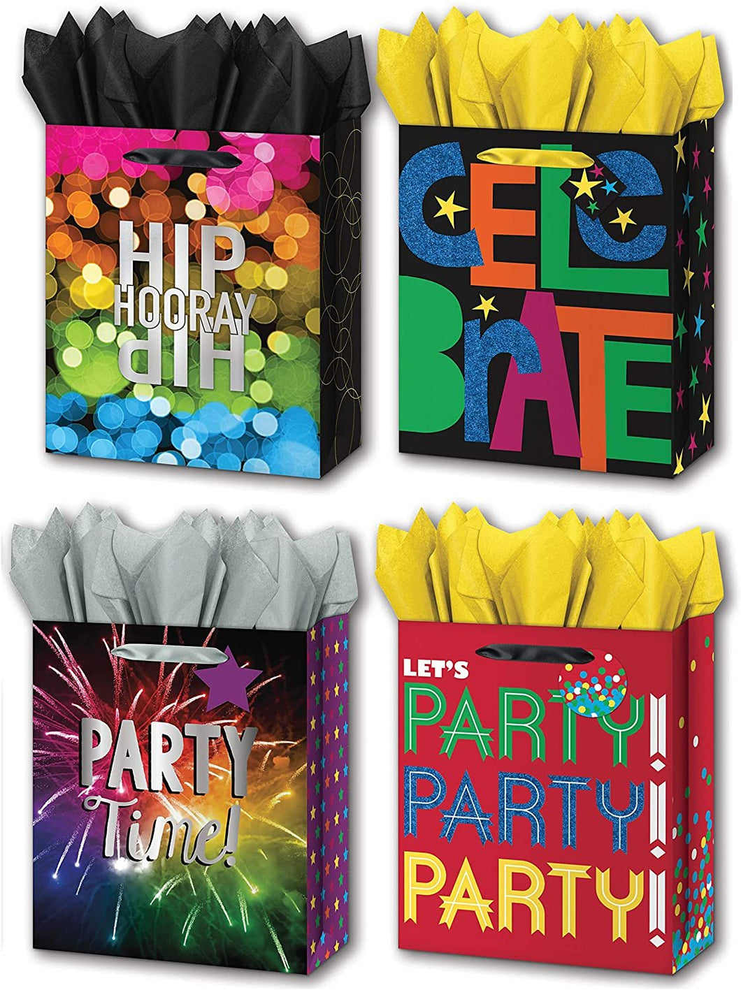 "B-THERE Bundle of 4 Large 10"" x 12"" x 5"" Celebration Gift Bags with Tags and Tissue for Boys, Girls, Men, Women for Birthday Party or Special Occasion"