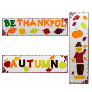 "B-THERE Bundle of 3 Autumn Harvest Fall Decorations 5.5"" x 21"" Window Gel Clings, Thanksgiving Decorations W/Pumpkins, Scarecrow, Oak Maple Leaves and Apples"