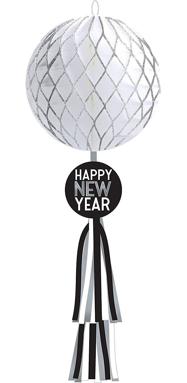 Happy New Year Ball Drop Honeycomb Decoration 27 3/4in