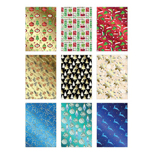 Bundle of 9 Rolls of Christmas Gift Wrapping Paper - 225 Total Sq Ft of Xmas Wrap