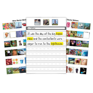 Pack of 2 Story Starter Kits for Children, Inspire a Unique Story with Stickers