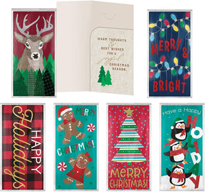 B-THERE 6 Pack Embellished Christmas Holiday Money Cash Gift Card Holders with Foil and Glitter, Reindeer, Lights, Tree, Penguins, Gingerbread Santa