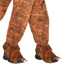 Load image into Gallery viewer, T-Rex Jumpsuit Halloween Costume for Kids, Small, with Attached Hood, by Amscan
