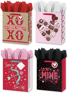 4 Large Valentines Day Gift Bags w/Tissue Paper Included Designed with - XOXO, Be Mine, Hearts, & More