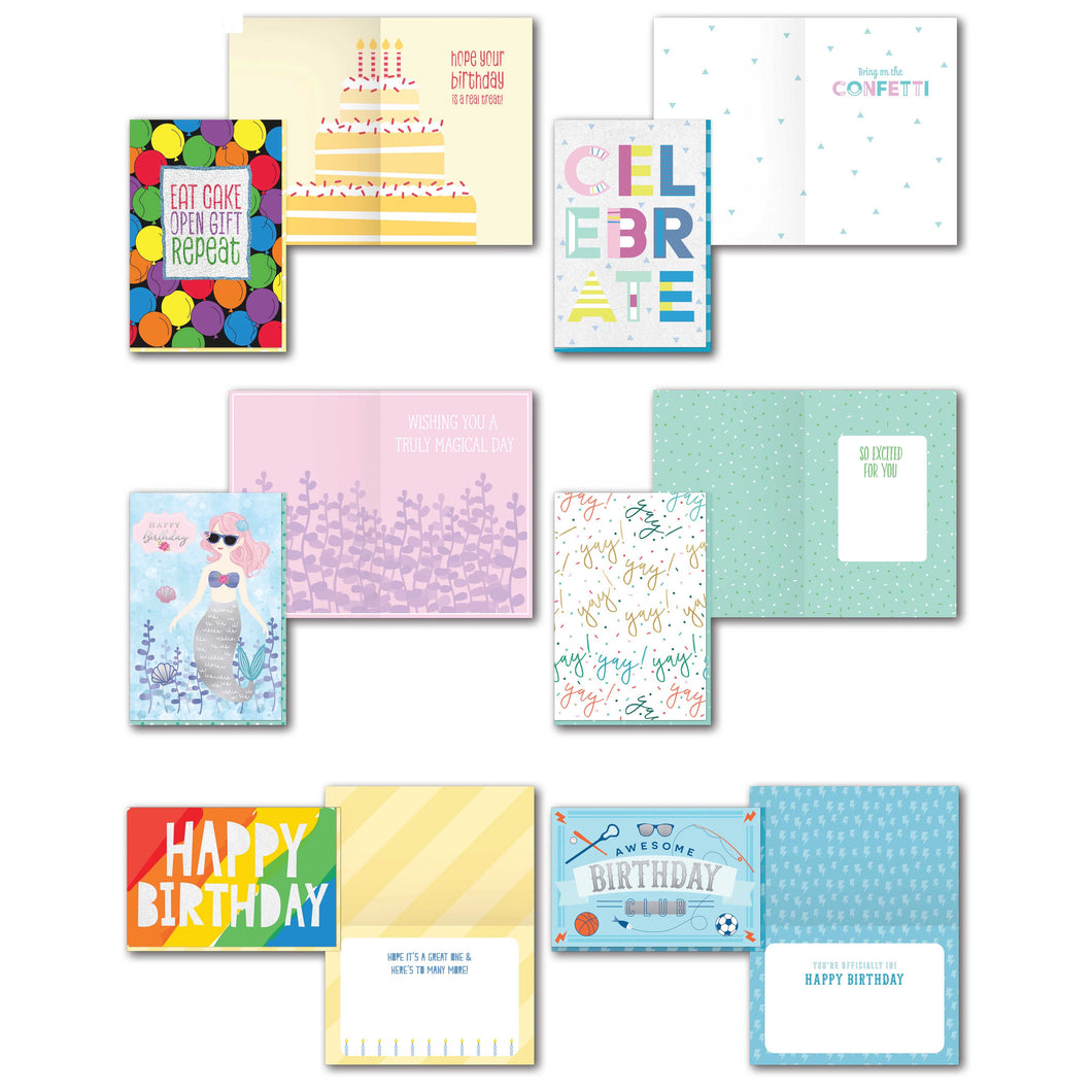 B-THERE 6 Pack Extra Large Happy Birthday Greeting with Sentiment Inside, Men, Women, Boys, Girls.