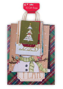 10 Pack of Assortment Christmas Gift Bags - Xmas Giftbags Kraft Designs