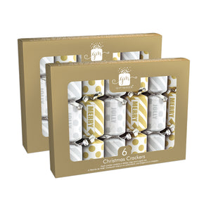 "6"" Mini Christmas Crackers - Silver and Gold, 12 Crackers Total"