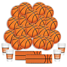 Load image into Gallery viewer, B-THERE Basketball Party Supplies Party Pack - Seats 16: Napkins, Plates, and Cups - Childrens or Adults