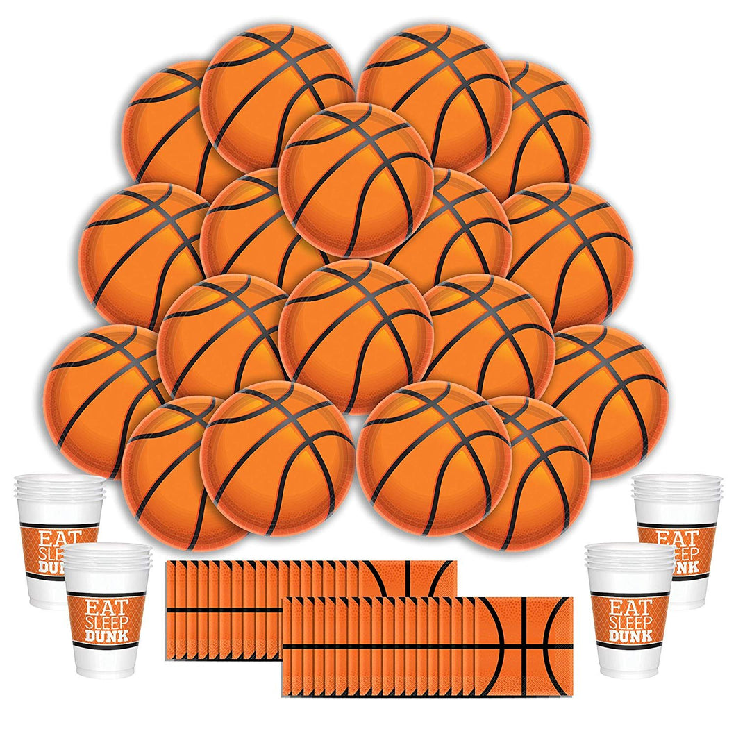 B-THERE Basketball Party Supplies Party Pack - Seats 16: Napkins, Plates, and Cups - Childrens or Adults