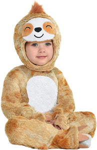 Party City Soft Cuddly Sloth Halloween Costume for Babies, Hooded Onesie, Tan and White