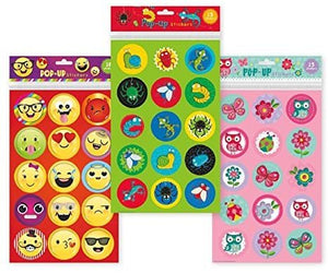B-THERE Set of 3 Large Popup Sticker Sheets, 48 Stickers Total. Emoticons, Creepy Crawlers, and Springtime Themed Popup Stickers