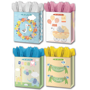 "B-THERE Bundle of 4 Large 10"" x 12"" x 5"" Baby Gift Bags with Tags and Tissue for Boy, Girl for Special Occasion"