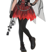 Load image into Gallery viewer, Suit Yourself Dark Vampire Costume for Girls, Includes a Mini Dress, a Sheer Cape, and a Choker Necklace