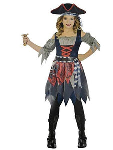 Amscan Castaway Cutie Pirate Costume, Girl's Medium 8-10 Blue, Grey