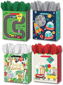 "B-THERE Bundle of 4 Large 10"" x 12"" x 5"" Kids Gift Bags with Tags and Tissue for Boys and Girls for Birthday Party or Special Occasion"
