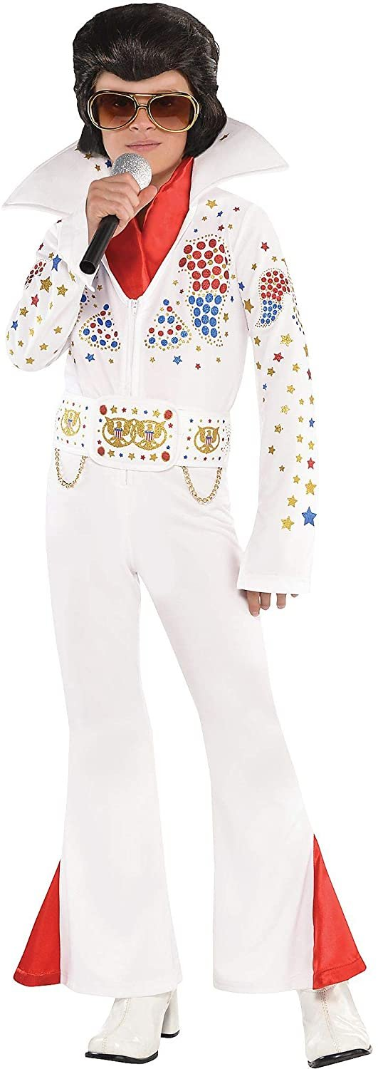 Suit Yourself King of Rock 'n' Roll Halloween Costume for Boys, Includes Jumpsuit, Belt, and Scarf