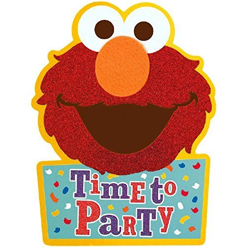 Amscan Sesame Street Elmo Invitations | Pack of 8 |Party Supply