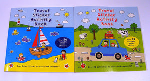 Travel Games for Kids Activity Books Coloring Sticker Book 1 set of 2 Different Books Coloring and Sticker Books, Word Search, Travel Games, Color the Shapes, Spot The Difference, Color the Shapes Follow the Lines, Word Search, How Many?, Crosswords, and