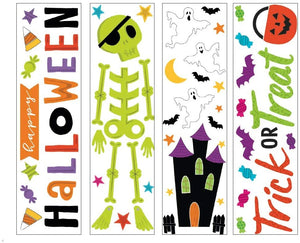 "B-THERE Bundle of Halloween 5.5"" x 21"" Window Gel Clings Decorations, Bats, Ghosts, Skelton, Trick or Treat, More"