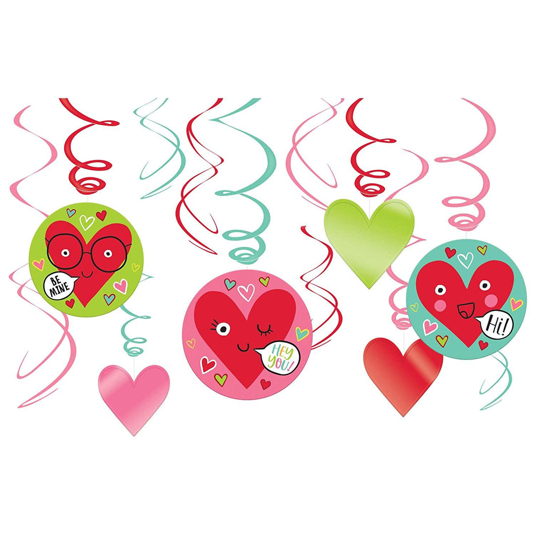 Heart Face Value Pack Foil Swirl Decorations