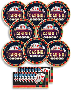 B-THERE Birthday Party Pack Bundle - Roll The Dice Casino Birthday Set, Seats 8: Plates and Napkins....
