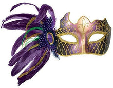 "Load image into Gallery viewer, Mardi Gras Party, Side Feather Mask - Purple, Green & Gold, 10"" x 11.5"""
