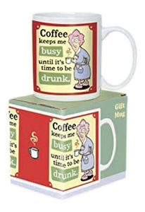 "Aunty Acid Coffee Mug ""coffee keeps me busy until it's time to be drunk"" Cool Morning Coffee Mug Mens Gift, Auntie Acid"