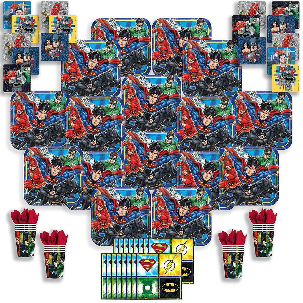 B-THERE Justice League Party Pack Bundle - Justice League Birthday Set, Seats 16: Plates, Cups, Napkins...