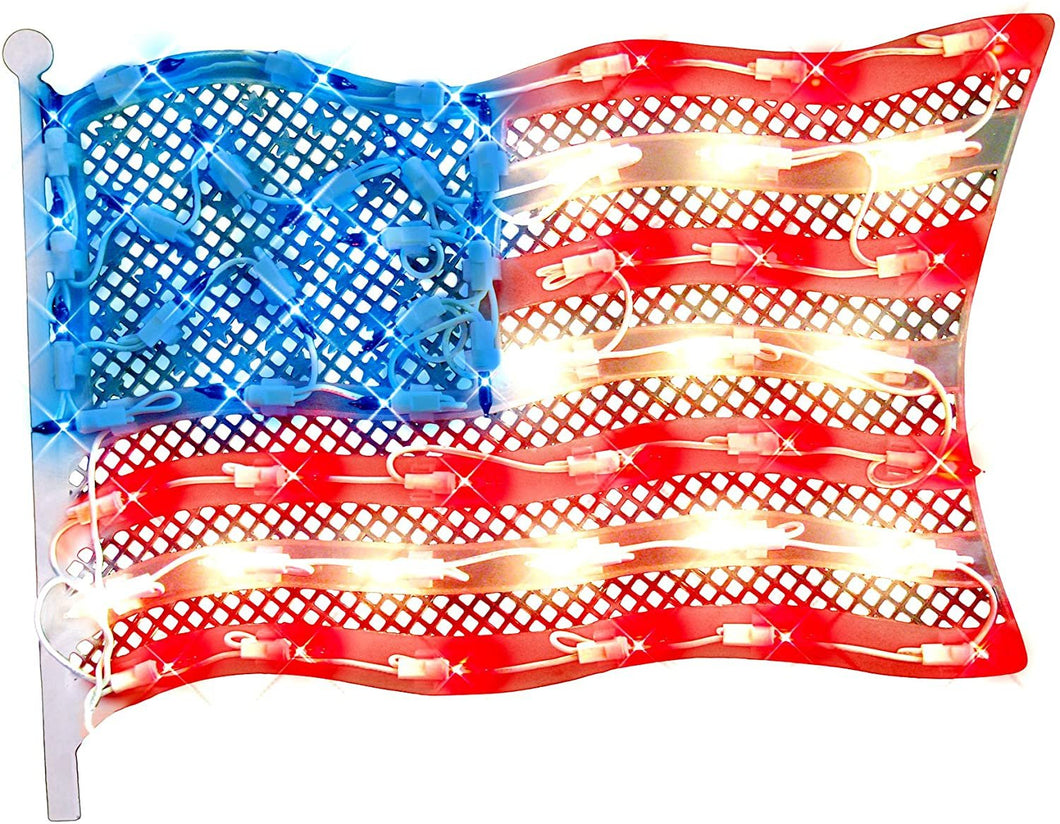 Impact Innovations Patriotic Lighted Window Decoration, Grand Old Flag