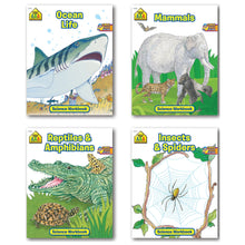 Load image into Gallery viewer, B-THERE Bundle School Zone Science Workbooks, Ocean Life, Mammals, Reptiles and Amphibians, Insects and Spiders, 4-Pack