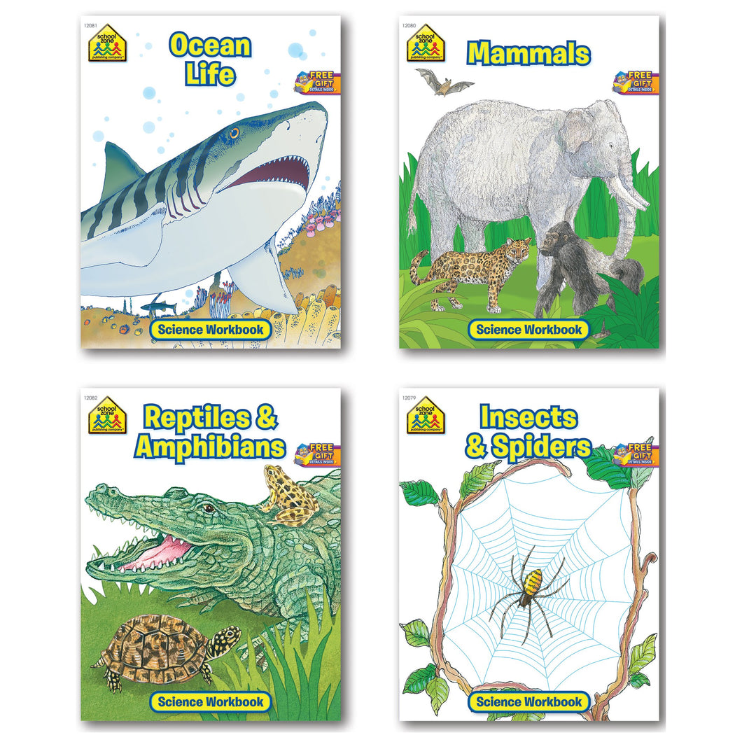 B-THERE Bundle School Zone Science Workbooks, Ocean Life, Mammals, Reptiles and Amphibians, Insects and Spiders, 4-Pack