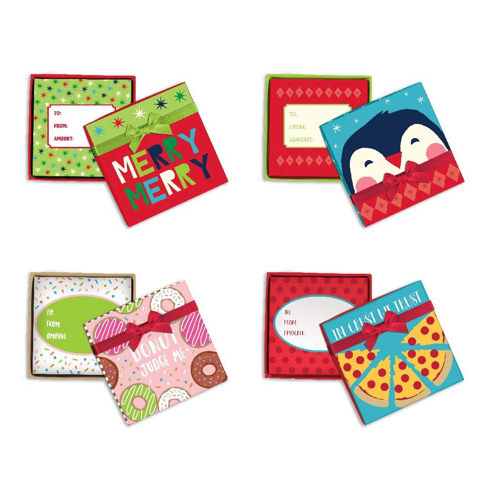 B-THERE Bundle of 4 Handcrafted Gift Card Holder Box with Decorative Satin Ribbon and Bow for Small Gifts or Gift Cards