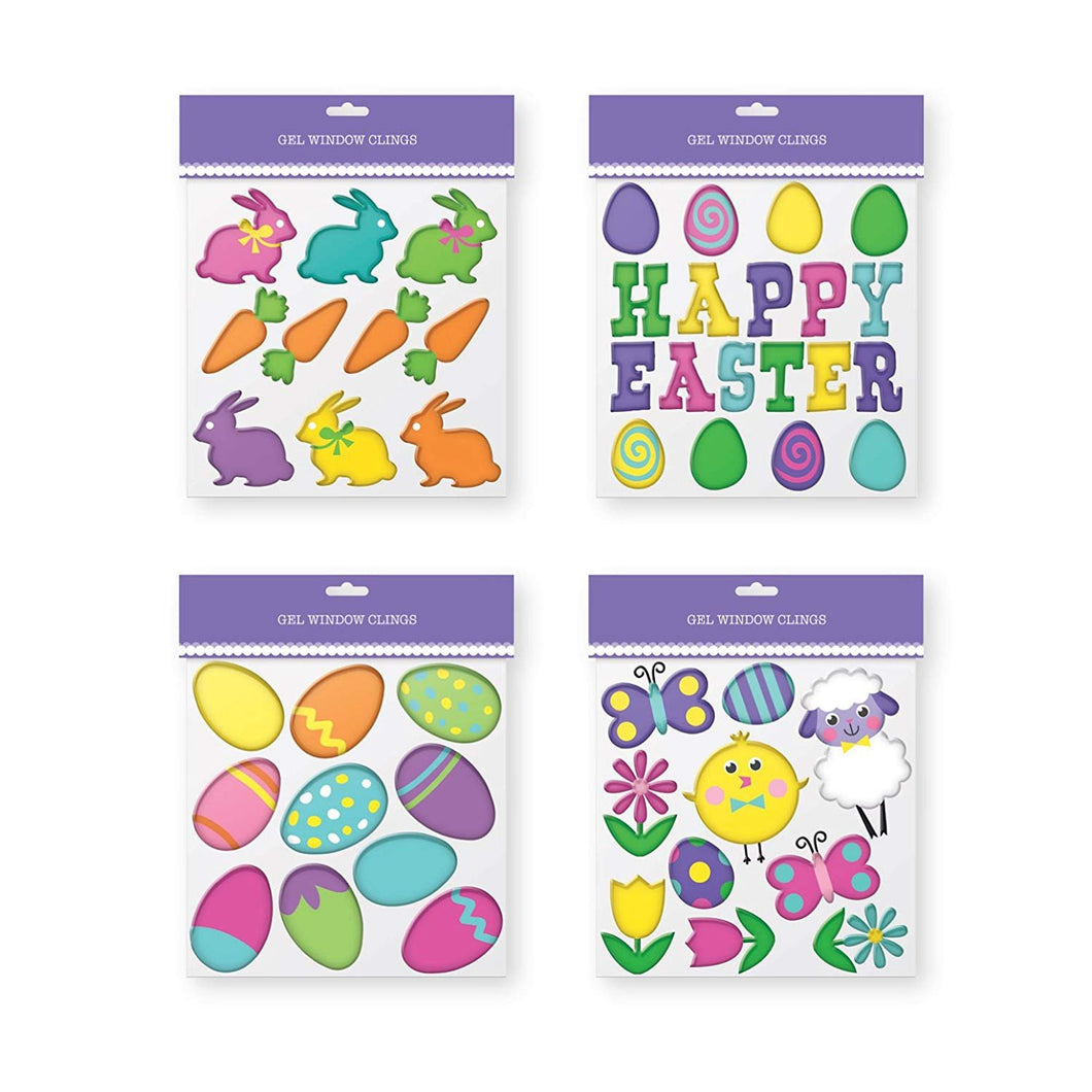 Easter Gel Window Clings - Pack of 4 Sheets of Easter Window Sticker Decorations.