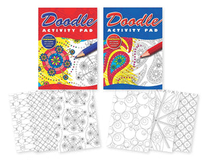 Pack of 2 Doodle Activity Pad Coloring Books for Children or Teens. 2 Different Pattern Coloring Note Pads Notebooks