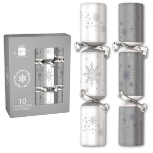 "12"" Christmas Holiday Crackers - Silver and White with Snowflakes. Includes 10 Crackers with Hat, Gift and Joke"