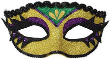 "Load image into Gallery viewer, Mardi Gras Party, Glitter Eyelash Mask - Purple, Green & Gold, 4"" x 6.5"""