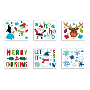 "B-THERE Bundle of Christmas Xmas Decorations 11.5"" x 12"" Window Gel Clings, Winter Holiday Decorations"