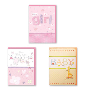 B-THERE Bundle of Congratulations Wishes for Baby Cards - 3 Card Pack Handmade Embellished Assortment Greeting Cards for Boy or Girl Birth & Shower Card