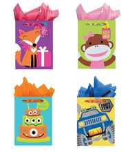 Load image into Gallery viewer, All Occasion Party Gift Bags - Set of 4 Tri-Glitter Medium Birthday Gift Bags w/Tags & Tissue Paper