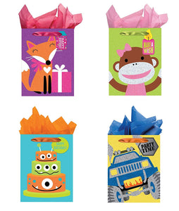All Occasion Party Gift Bags - Set of 4 Tri-Glitter Medium Birthday Gift Bags w/Tags & Tissue Paper