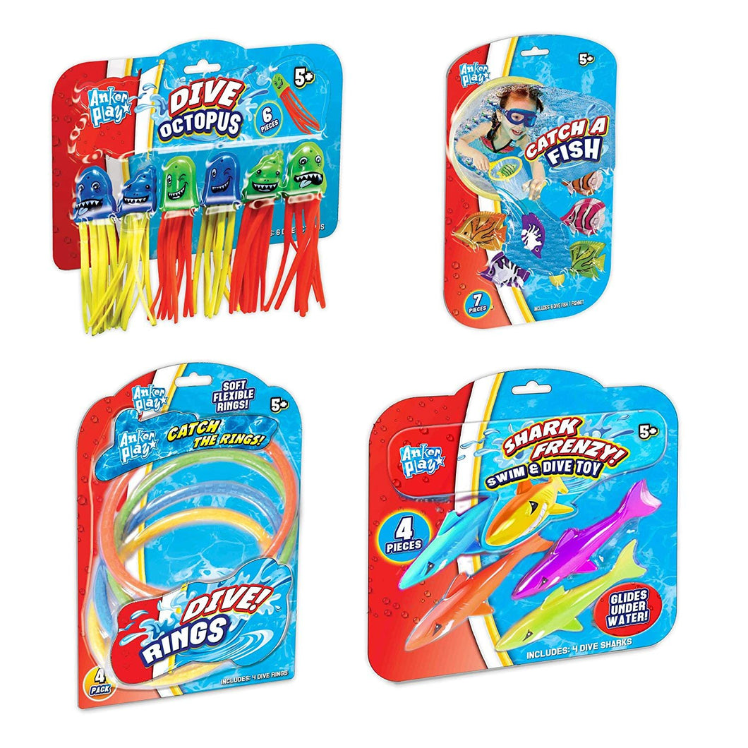 Bundle of Anker Play Pool Toys: Catch a Fish, Shark Frenzy, Catch the Rings and Dive Octopus