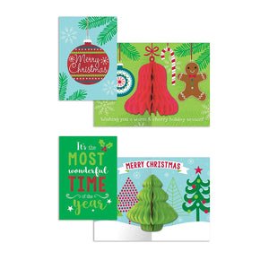 B-THERE Bundle of 16 Honeycomb Pop-Out Christmas Cards, Assorted Holiday Cards 2 Designs. 4.5in x 6.5in Money Enclosure Cards with Envelopes for Xmas